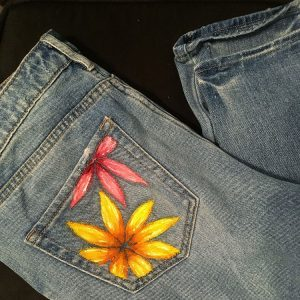 Acrylic Painted Jeans Pocket