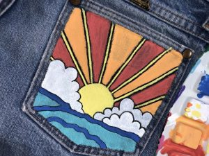 Painted Jean Pockets Sunset