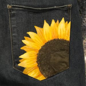 Sunflower Painted Jean Pocket