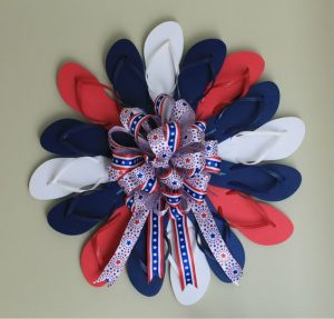 Red White Blue Flip Flop Wreath