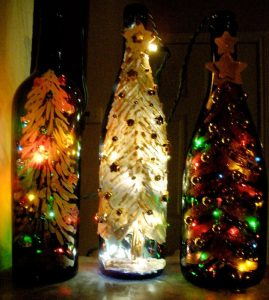 Painted Wine Bottles Christmas