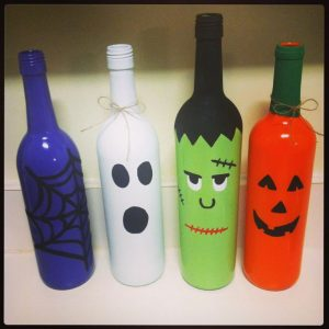 Painted Wine Bottles Halloween