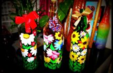 Wine Bottle Painting Flowers